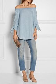 Off-the-shoulder cotton-chambray top