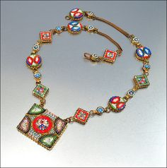 Vintage Micro Mosaic Italy Necklace Brass Glass Art Deco 1930s Jewelry