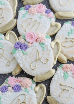 Teacup sugar cookies overflowing with royal icing flowers. Pastel icing colors c… Teacup sugar cookies overflowing with royal icing flowers. Dessert Party, Tea Party Desserts, Tea Party Favors, Tea Party Theme, Tea Party Decorations, Tea Party Birthday, Tea Party Cakes, Birthday Cake, Birthday Cookies