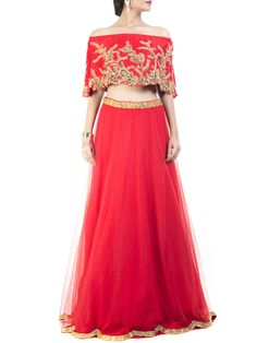 Striking Red Embroidered Cape Lehenga #Ekatrra #Dress #Stepintoawesome…