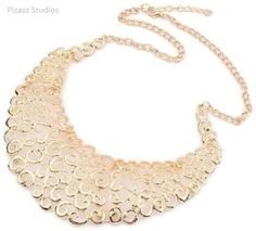 "NWT NEW 18""-20"" Filigree Gold Statement Bib Swirl Necklace 5-5 #Unbranded #Bib"