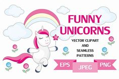 Funny unicorns. Vector clipart and seamless patterns. from DesignBundles.net