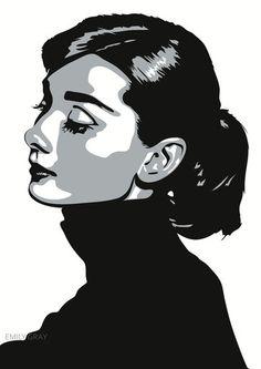 3d2a426543 Art Prints London. Audrey Hepburn - Always Giclée-tryk af Emily Gray ...