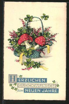 alte AK Korb mit Fliegenpilzen und Kleeblättern in Sammeln & Seltenes, Ansichtskarten, Motive | eBay