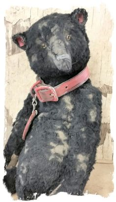 """Image of Old & Worn BLACK Teddy Bear - 12.5"""" wears red leather collar By Whendi's Bears"""