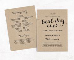 Wedding Program Template Kraft Paper Program DIY by VineWedding