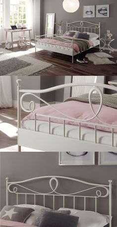 m dchenzimmer einrichten mit farbe blau wei metallbett mit ornamentenreichen kopfteil. Black Bedroom Furniture Sets. Home Design Ideas