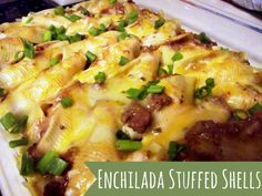 Enchilada Stuffed Shells - OMG Delicious, but I didn't include the refried beans bc I don't like them and it was awesome!