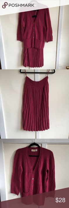 Early 90s Liz Claiborne Sweater Set Coordinated sweater and pleated knit skirt set from Liz Claiborne. The color is a beautiful maroon pink. This set is in like new, excellent vintage condition. Angora, lamb's wool and the nylon blend. Vintage Other