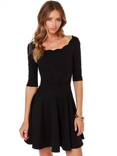 Half Sleeve Pleated Vintage Dress