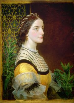 Pre Raphaelite Art: Portrait of a lady (possibly Anne Simms Reeve) 1860 by Frederick Sandys