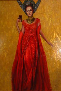 dama w czerwieni