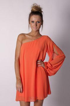 orange one shoulder dress!