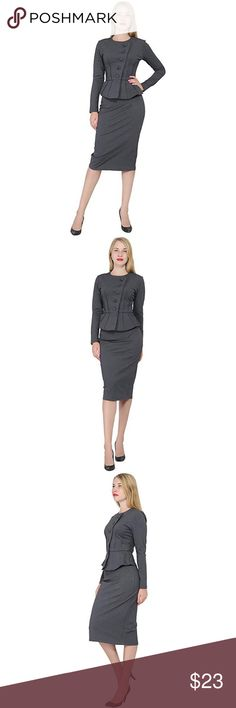 "Women's Formal Jacket/Skirt Suit The classy top feature 5 buttons in diagonal button bracket, peplum silhouette, decoration waist lines, long sleeves, round neck. The skirt features pencil sihouette, midi length. Dry wash prefered. 80% Polyester/15% Rayon/5% Spandex Size 06: Chest: 35"" (88.9 cm) Waist: 27"" (68.6 cm) Hips: 37.5"" (95.3 cm) Jacket length: 22""-25"" (depends on size) Skirt Length: 29""-30"" (depends on sizes).  WORK, BUSINESS or OFFICE,CHURCH, WEEKEND,COCKTAILS, PARTY or WEDDING…"