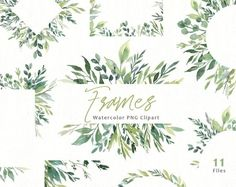 Watercolor Greenery Frames Borders PNG Clipart Green Leaves Branches Clip Art Aquarelle Arrangements Bright Foliage Free Commercial Use Watercolor Clipart, Watercolor Border, Watercolor Leaves, Floral Watercolor, Vintage Clip, Vintage Birds, Greenery Quotes, Calligraphy Borders, Leaf Border