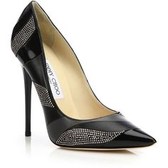 """A highly coveted signature silhouette to ground your favorite looks, executed in smooth, glossy and studded leather.  Self-covered heel, 4.75"""" (120mm).  Leathe…"""
