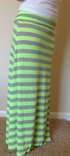 Green & Grey Maxi Skirt
