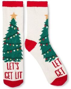 Women's Cozy Crew Sock Holiday White with Green Lets Get Lit Tree