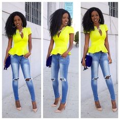 Neon Peplum Blouse + Ripped Jeans