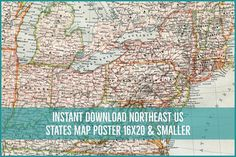 Instant Download Map of NE USA New York Pennsylvania Maryland