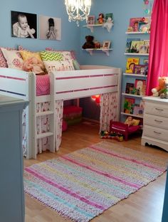 Great fun kids rooms. Get inspired by color, shape and all things fun. The bed would have to be higher, but i love this!