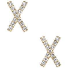 Cubic Zirconia Crisscross Stud Earrings in 10k Gold ($150) ❤ liked on Polyvore featuring jewelry, earrings, yellow gold, cz stud earrings, cz earrings, gold jewelry, yellow gold stud earrings and sparkle jewelry