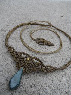 Jadeite  Macrame necklace choker & tiara stone size by LaQuetzal