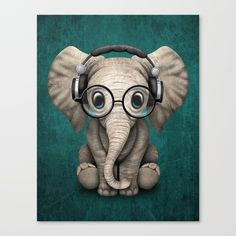 Buy Cute Baby Elephant Dj Wearing Headphones and Glasses on Blue Canvas Print by jeffbartels. Worldwide shipping available at Society6.com. Just one of millions of high quality products available.