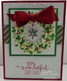 "2014 Cardstock:  Whisper White, Cherry Cobbler, Garden Green Stamp Set: Wondrous Wreath Accessories:  Lucky Stars Textured Impressions Embossing Folder, Wonderful Wreath Framelits dies, Big Shot, All Is Calm Snowflake Embellishments, Cherry Cobbler 1"" Sheer Linen Ribbon, Trim the Tree Designer Series Paper Stack"