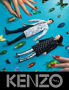 Kenzo collaborated with the creative minds behind TOILETPAPER magazine, Maurizio Cattelan, Micol Talso and Pierpaolo Ferrari, for the Fall/Winter 2013 campaign, starring Sean O'Pry and Japanese actress Rinko Kikuchi posing in a surreal and colorful world.