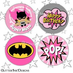 Flying Super Hero party PINK BATGIRL pdf printable party
