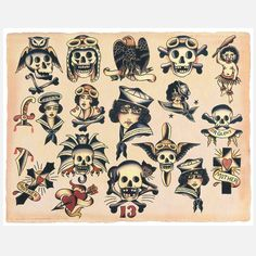 Vintage Tattoo Flash | Lucky 13 Print 14x11 art, digital print, multi