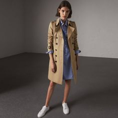 Burberry The Chelsea - Long Trench Coat ($1,920) ❤ liked on Polyvore featuring outerwear, coats, trench coats, long length coats, belted trench coat, button coat and weatherproof coat