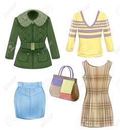 Набор сезонной одежды для девочек Клипарты, векторы, и Набор Иллюстраций Без Оплаты Отчислений. Image 34577079.
