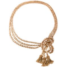 Retro Gold Necklace: Fabulous retro necklace circa.1945. The necklace is 18k yellow gold and has approximately 1.50cts in diamonds on top of a wonderful open gold knot with three decorative tassels.