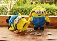 กระเป๋ามินเนี่ยน1/3 Kids Bags, Pikachu, Crochet Bags, Character, Diy, Do It Yourself, Crocheted Bags, Bricolage, Crochet Clutch Bags