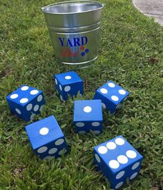 Yard Dice - Giant Dice - Yard Game - Yard Yahtzee - Farkle - Bunco - Outdoor Dice - Outdoor Game - Wedding Game - With Bucket by SandyKsCustomDesigns on Etsy