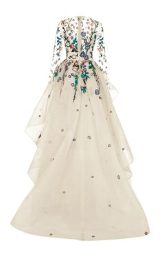 Long Sleeve Embellished Gown by Monique Lhuillier | Moda Operandi