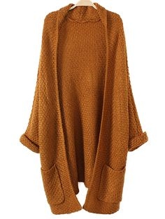 Shop Brown Lapel Pocket Detail Open Front Long Sleeve Knit Cardigan from… Batwing Cardigan, Chunky Knit Cardigan, Short Sleeve Cardigan, Long Cardigan, Brown Cardigan, Long Sleeve, Batwing Sleeve, Sweater Cardigan, Bat Sleeve