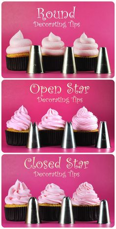 Cupcake frosting tips. For party/ shower cupcakes. Frosting Recipes, Cupcake Recipes, Cupcake Cakes, Icing Cupcakes, Frost Cupcakes, Diy Cupcake, Cupcake Icing Designs, How To Ice Cupcakes, Cupcake Frosting Tips