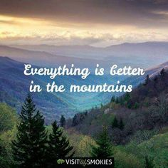 I'll have to find out. Do you agree? Check out Groovy Getaway overlooking the Smokies in Gatlinburg Hiking Quotes, Travel Quotes, Camp Quotes, Wanderlust Quotes, The Mountains Are Calling, Great Smoky Mountains, Frases Escape, Mountain Quotes, Mountain Art