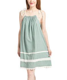 Green & White Lace-Accent Shift Dress - Women #zulily #zulilyfinds