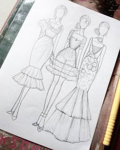 69 Fashion Design Pencil Drawing Ideas - New Fashion Illustration Tutorial, Fashion Drawing Tutorial, Fashion Figure Drawing, Fashion Drawing Dresses, Fashion Illustration Dresses, Drawing Fashion, Dress Design Drawing, Dress Design Sketches, Fashion Design Sketchbook