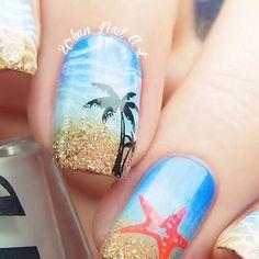 "1,690 Likes, 39 Comments - Urban Nail Art - Australia (@urbannailart) on Instagram: ""🎥🎥🎥Video tut on my beach inspired mani🌴🌴🌴 To create it I used: 👉🏻 @sally_hansen 'Pacific Blue', UNA…"""
