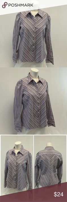 """Offers of 40% Less on BUNDLES Always Accepted! DOCTOR MISSY EASY CARE STRETCH Buttonup Top, size Large See Measurements, feminine fitted, horizontal bust darts, stretchy sparkly, machine washable, 65% polyester, 30% nylon, 2% metallic, 3% spandex, approximate measurements: 24"""" length, 20"""" bust laying flat, 22"""" sleeves. ADD TO A BUNDLE!  Offers of 40% Less on BUNDLES Always Accepted! DCC MISSY Tops Button Down Shirts"""