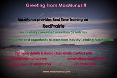 Starting Online Training on RedPrairie by Industry Leading Professionals .For more details kindly contact with Madhurima - +91-9066268701 , Email - madhurima@maxmunus.com.Skype - madhu_maxmunus.