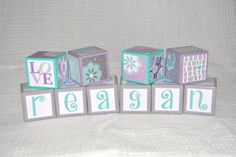 Teal and Purple Nursery-Personalized Wooden Blocks-Baby Shower Blocks-Wooden Blocks Baby-Personalized Nursery Decor-Baby Blocks Gift