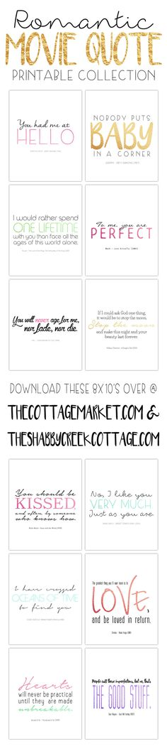 Love it? Share it: Hi everyone, it's Andrea from The Cottage Market and I am back in this new wonderful year to share more fun printables with all of the fabulous readers of my dear friend Gina's beautiful blog! Today we have a Romantic Movie Quote Free Printable Collection for you! I am sure that …