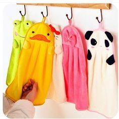 Cute Children Nursery Hand Towel Cartoon Animal Kitchen Bath Hanging Wipe Towel #Affiliate