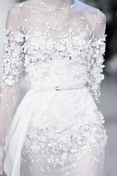 Sheer white dress with embroidered floral appliqué - flower embellished dress; haute couture fashion details // Elie Saab